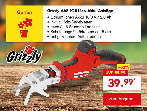 Grizzly AAS 108 Lion Akku-Astsäge, nur 39.99 €*