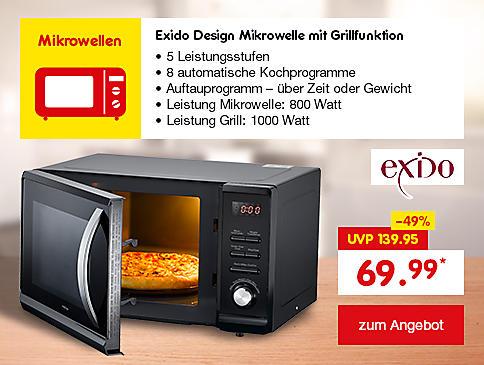 Exido Design Mikrowelle mit Grillfunktion, nur 69.99 €*