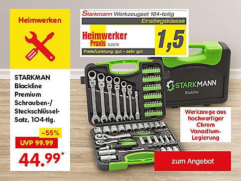 Starkmann Blackline Premium Schrauben-/Steckschlüssel-Satz, 104-tlg., nur 44.99 €*