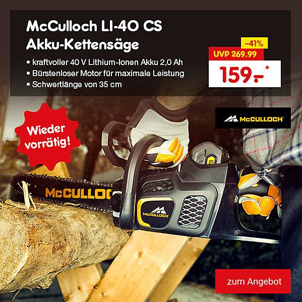 McCulloch LI-40 CS Akku-Kettensäge, nur 159.- €*