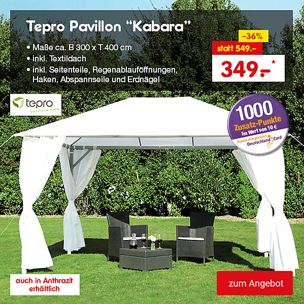 "Tepro Pavillon ""Kabara"", versch. Farben, je nur 349.- €*"
