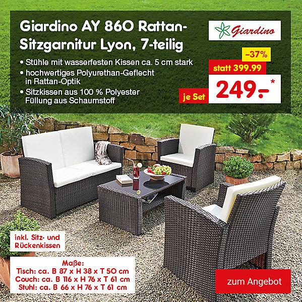 Giardino AY 860 Rattan-Sitzgarnitur Lyon 7-teilig, für nur 249.- €*