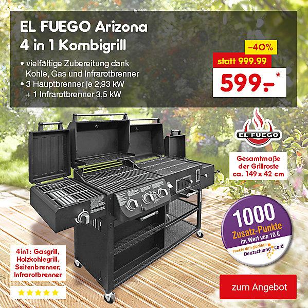 El Fuego Arizona 4in1 Kombigrill, für nur 599.- €*, inkl. 1000 DeutschlandCard Zusatz-Punkten