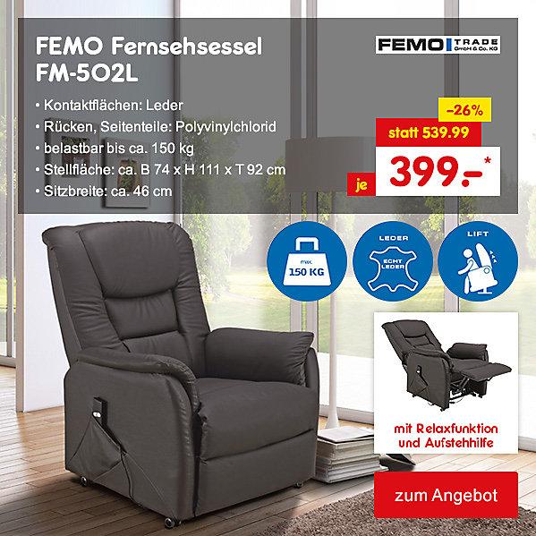 FEMO Fernsehsessel FM-502L mit Relaxfunktion und Aufstehhilfe, für nur 399.- €*