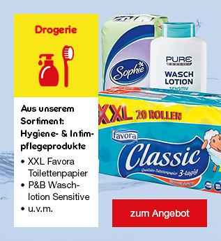 Aus unserem Drogerie-Dauersortiment: Hygiene- & Intimpflegeprodukte