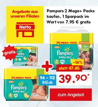 2 Mega+ Packs kaufen und 1 Packung Pampers Baby-Dry Sparpack im Wert von 7.95 Euro gratis erhalten