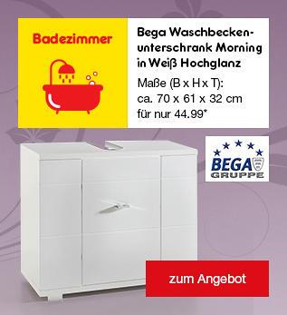Bega Waschbeckenunterschrank Morning in Weiß Hochglanz, für 44.99 €*