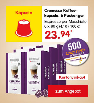 Cremesso Kaffeekapseln, 6 Packungen Espresso per Macchiato, nur 23.99 €*