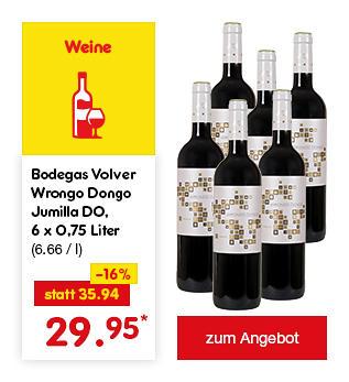 Bodegas Volver Wrongo Dongo Jumilla DO, 6 x 0,75 Liter (6.66 / l), für nur 29.95 €*