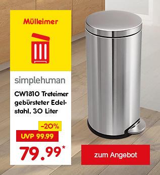 simplehuman CW1810 Treteimer gebürsteter Edelstahl 30 Liter, für nur 79.99 €*