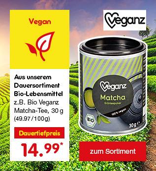 Aus unserem Dauersortiment Bio-Lebensmittel - z.B. Bio Veganz Matcha-Tee für nur 14.99 €*
