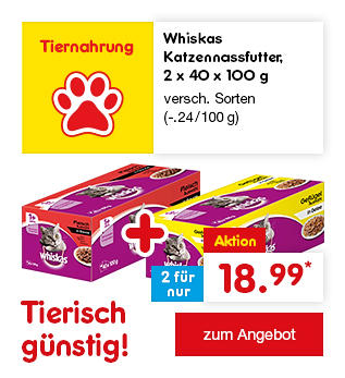Tierisch günstig - z.B. Whiskas Katzennassfutter, 2 x 40 x 100 g versch. Sorten, für nur 18.99 €* (-.24 / 100 g)