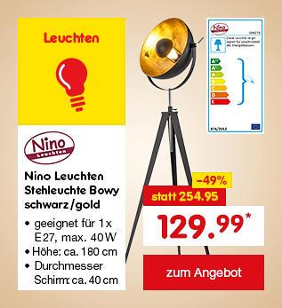 Nino Leuchten Stehleuchte Bowy schwarz/gold, für nur 129.99 €*