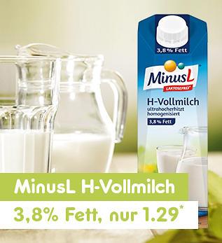 MinusL H-Vollmilch 3,8% Fett nur 1.29*