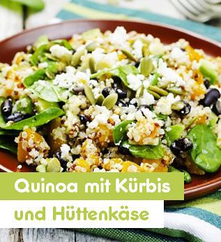 Herbstlicher Quinoa mit Kürbis und Hüttenkäse