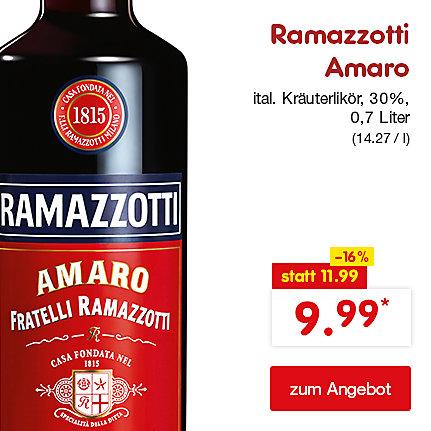 Ramazzotti Amaro ital. Kräuterlikör, 30% Vol. 0,7 Liter (14.27 / l), nur 9.99 €*
