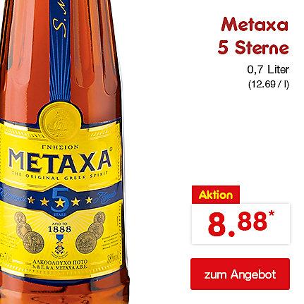 Metaxa 5 Sterne Brandy, 38% Vol. 0,7 Liter (12.69 / l), nur 8.88 €*