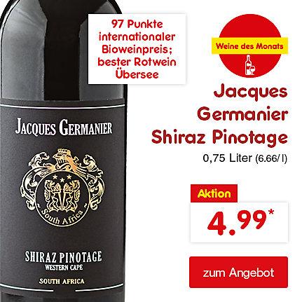Jacques Germanier Shiraz Pinotage 0,75 Liter (6.66 / l), für nur 4.99 €*