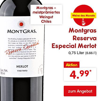 Montgras Reserva Especial Merlot 0,75 Liter (6.66 / l), für nur 4.99 €*