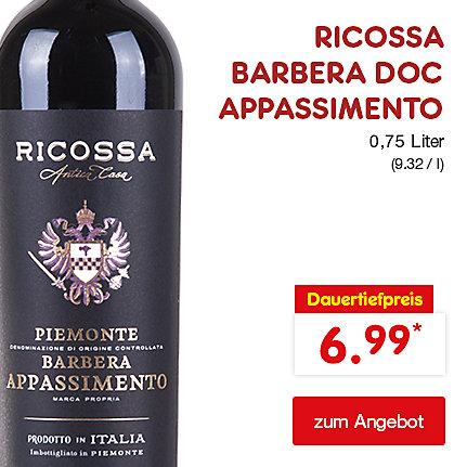 RICOSSA BARBERA DOC APPASSIMENTO, 0,75 Liter (9.32 / l), für nur 6.99 €*