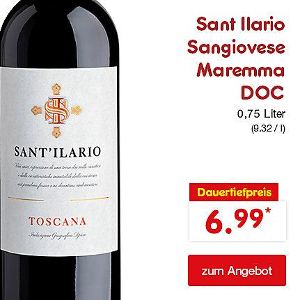Sant Ilario Sangiovese Maremma DOC 0,75 Liter (9.32 / l), für nur 6.99 €*