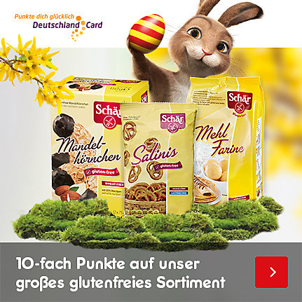 10-fach DeutschlandCard-Punkte auf das glutenfreie Sortiment im Online-Shop