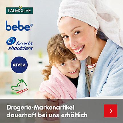 Drogerie-Markenartikel dauerhaft bei uns erhältlich, z.B: Palmolive, bebe, head & shoulders, nivea, Tabaluga