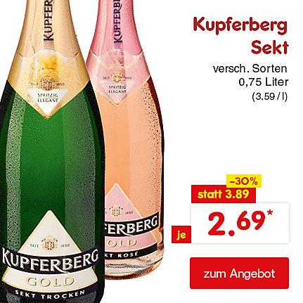 Kupferberg Sekt versch. Sorten 0,75 Liter (3.59 / l), für je nur 2.69 €*