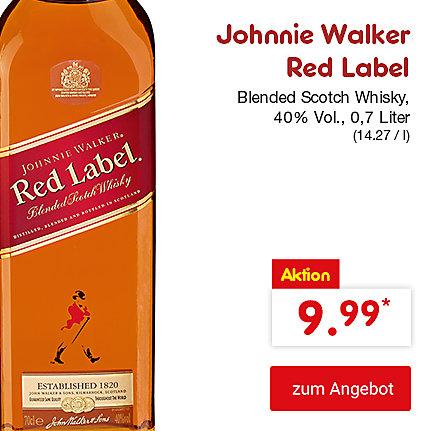 Johnnie Walker Red Label Blended Scotch Whisky, 40% Vol., 0,7 Liter (14.27 / l), für nur 9.99 €*