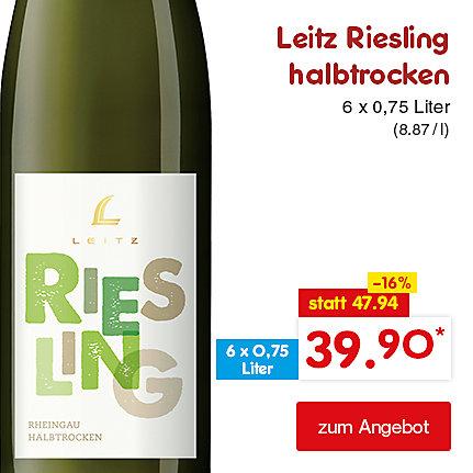 Leitz Riesling halbtrocken 6 x 0,75 Liter (8.87 / l), für nur 39.90 €*