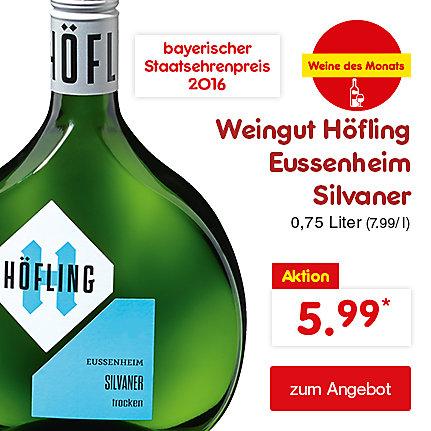 Unsere Weine des Monats - Weingut Höfling Eussenheim Silvaner 0,75 Liter (7.99 / l), nur 5.99 €*
