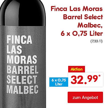 Finca Las Moras Barrel Select Malbec, 6 x 0,75 Liter (7.33 / l), für nur 32.99 €*