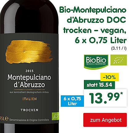 Bio-Montepulciano d'Abruzzo DOC trocken - vegan, 6 x 0,75 Liter (3.11 / l), für nur 13.99 €*