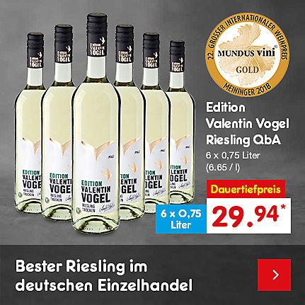 Edition Valentin Vogel Riesling QbA, 6 x 0,75 Liter (6.65 / l), für nur 29.94 €*