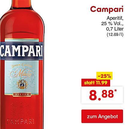 Campari, 0,7 Liter (12.69 / l), für nur 8.88 €*