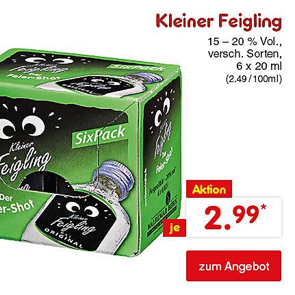 Kleiner Feigling, versch. Sorten, 6 x 20 ml (2.49 / 100 ml), für nur je 2.99 €*