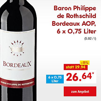 Baron Philippe de Rothschild Bordeaux AOP, 6 x 0,75 Liter (5.92 / l), für nur 26.64 €*
