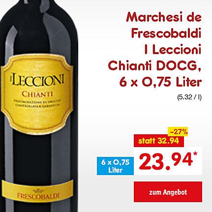 Marchesi de Frescobaldi I Leccioni Chianti DOCG, 6 x 0,75 Liter (5.32 / l), für nur 23.94 €*