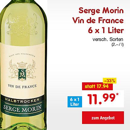 Serge Morin Vin de France weiß, 6 x 1 Liter (2.- / l), nur 11.99 €*