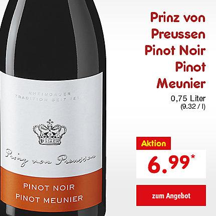 Prinz von Preussen Pinot Noir Meunier, 0,75 Liter (9.32 / l), für nur 6.99 €*