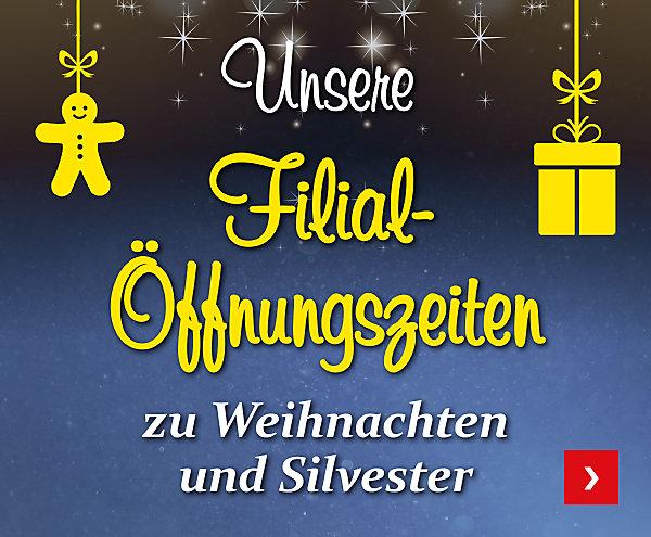 Unsere Filial-Öffnungszeiten zu Weihnachten und Silvester