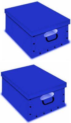 Artra Design Ordnungsboxen Deko Karton Box Clip 2er SET Blau mit Fenster