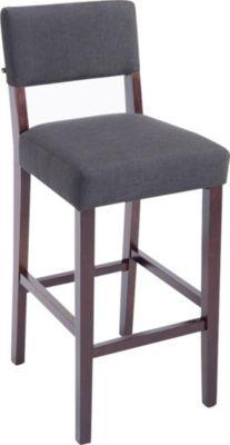 Holz Barhocker MORITZ mit Stoff-Bezug, Bar-Stuhl mit Lehne, Sitzhöhe 75 cm