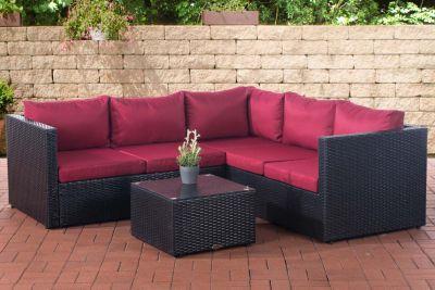 CLP Poly-Rattan Lounge-Set LIBERI l Garten-Set mit 5 Sitzplätzen l Garnitur mit Aluminium-Gestell l