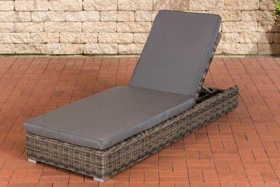 Poly-Rattan Sonnenliege ATESSA mit Auflage, Aluminium-Gestell, Rückenlehne 5-fach verstellbar, Polst
