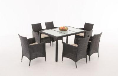 Gartenstühle rattan  Rattan Sitzgruppe VERMONT, 6 Polyrattan Gartenstühle mit ...
