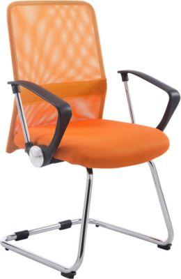 Freischwinger-Stuhl mit Armlehne PITT, Besucher-Stuhl mit Metallgestell in Chromoptik und Netzbezug