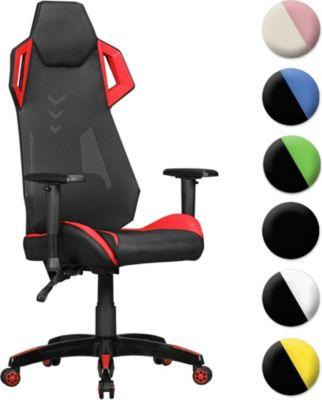 AMSTYLE ® GamePad - Gaming Chair aus Kunstleder / Mesh in Schwarz / Weiß Schreibtisch-Stuhl in Leder