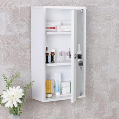 Wohnling WOHNLING Medizinschrank ELLA abschließbar Erste Hilfe Schrank weiß 48 x 26 x 12 cm