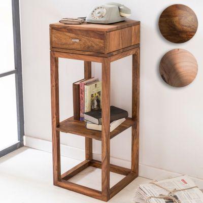 Wohnling Beistelltisch MUMBAI Massivholz Akazie Anstelltisch Telefontisch mit Schublade 35 x 35 x 90